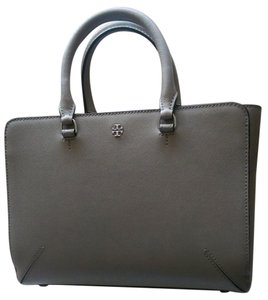 Tory Burch Leather Satchel Tote in French Gray