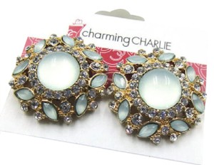Charming Charlie New Charming Charlie Stud Earrings Cat's Eye Crystal Gold Tone J3178