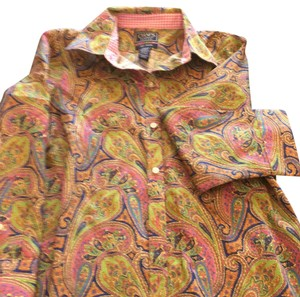 Chaps Button Down Shirt Green and pink paisley