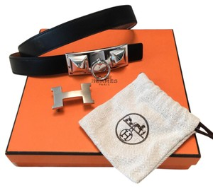 Hermès Constance H & Collier Buckle Set Reversible Black Tan Skinny Belt