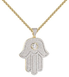 Other Solitaire Hamsa Hand Pendant 14k Gold Finish Iced Out Lab Diamonds