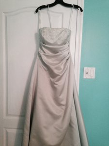 David's Bridal Light Green Full Length Dress