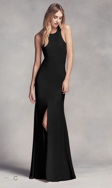 Item - Black Polyester Long Halter with Skirt Slit Vw360297 Sexy Bridesmaid/Mob Dress Size 4 (S)