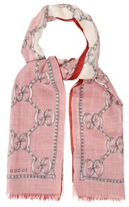 Gucci Light pink Gucci wool silk blend GG monogram Web Oversized scarf