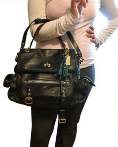 Coach Satchel in black and teal