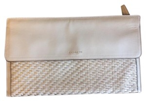 Coach Leather White and Silver Clutch