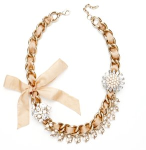 Ann Taylor NWT-ANN TAYLOR GOLD, PEARL, RIBBON AND RHINESTONE NECKLACE