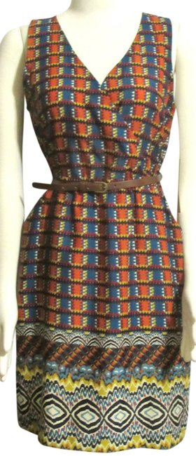 Item - Oranges Blues Red Etc New Ladies Teal Faux Wrap Geometric Silky Short Casual Dress Size 6 (S)