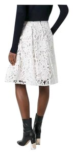 Alice + Olivia Floral Lace Skirt White / Beige