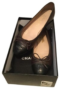 Chanel Lambskin Ballerina Box Black, Brown Flats