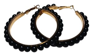Other New Glass Pearl Hoop Earrings Gold Tone 2 in. J3185