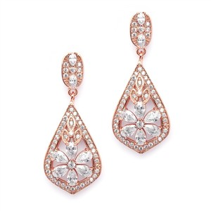 Mariell Sophisticated Rose Gold Art Deco Cz Clip-on Wedding Earrings 4237e-rg
