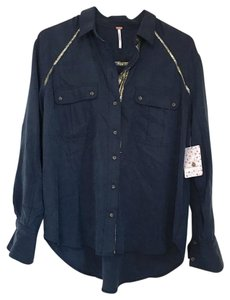 Free People Button Down Shirt Navy/Gold Metallic