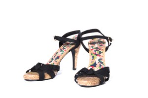 Fioni Black Open Toe Multicolor Sandals