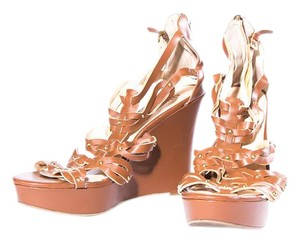 Guess Wedges Open Toe Brown Sandals