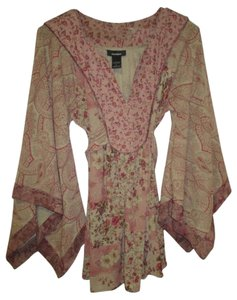 Express Flutter Sleeve Peasant Large Top Multi