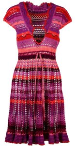 7dcc9157be0d0 Betsey Johnson Pink Crocheted Dress Cover-up/Sarong Size 10 (M ...