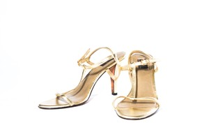 Glint Leather Open Toe Gold Sandals
