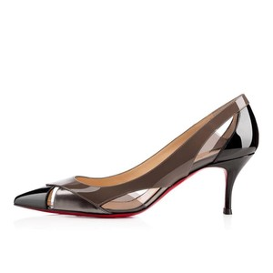 Christian Louboutin Pvc Technicatina Metallic Black, Taupe, Gunmetal Pumps