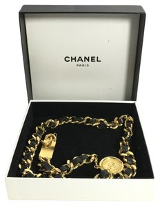 Chanel Authentic Chanel Black Leather CC Medallion Gold Chain Belt