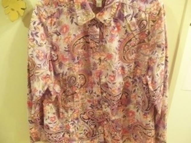 Talbots Button Down Shirt Purple and coral print