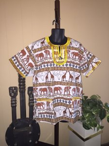 Gala Clothwear for African Attire Men's Kenyan-Made Animal Kingdom Dashiki (One Size - Adult Small to Large) by Gala Clothwear for African Attire [ SisterSoul Closet ]