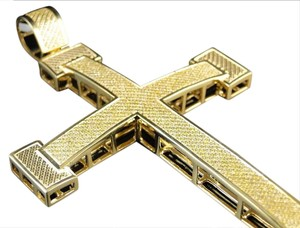 Other New Mens Yellow Gold Finish Genuine Xxl Diamond Cross Charm Pendant