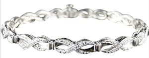 Other NEW WOMEN WHITE GOLD FINISH PAVE ROUND CUT DIAMOND TWIST BRACELET