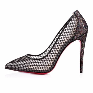 Christian Louboutin Stiletto Follies Lace Fishnet Glitter Black Pumps