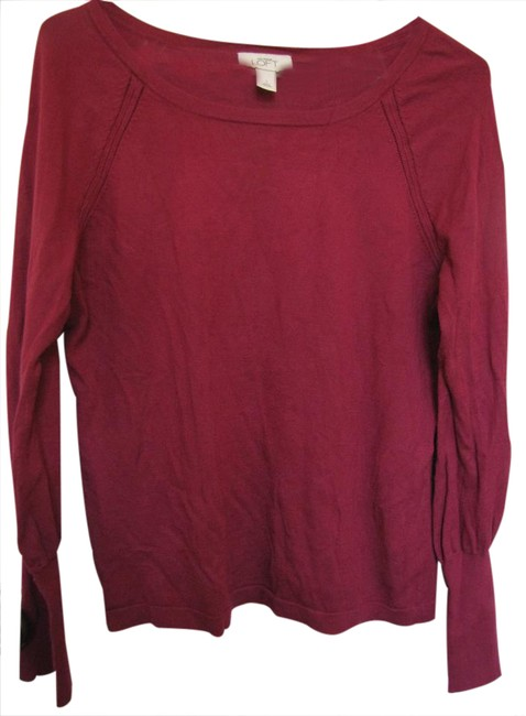 Preload https://img-static.tradesy.com/item/20893144/ann-taylor-loft-dark-pink-comfortable-that-can-be-dressy-or-casual-sweaterpullover-size-12-l-0-1-650-650.jpg