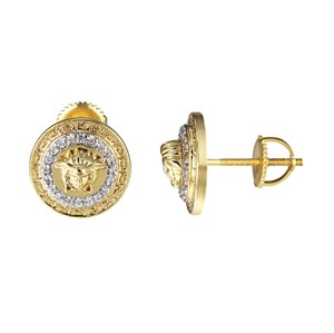 Other Medusa Face Round Earrings Greek Design 14k Gold Tone