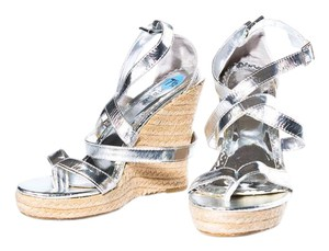 Bamboo Open Toe Adjustable Strap Silver Wedges