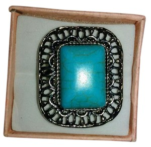 Other Adjustable Tibetan Silver Ring With Square Turquoise Stone