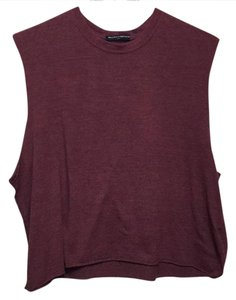 Brandy Melville Sleeveless Casual Exercise T Shirt red