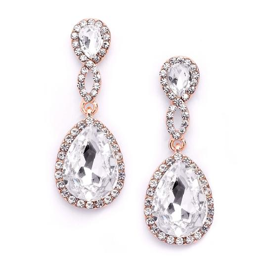 Mariell Rose Gold Crystal Teardrop with Braided Top 4547e-cr-rg Earrings