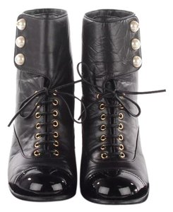 Chanel Calf skin patent pearl CC logo booties black Boots