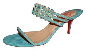 Christian Louboutin Keffinana Chain Turquoise Mules Turquoise Blue Sandals
