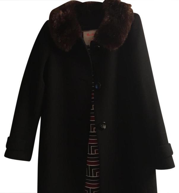 Item - Black with Brown Collar Coat Size 4 (S)