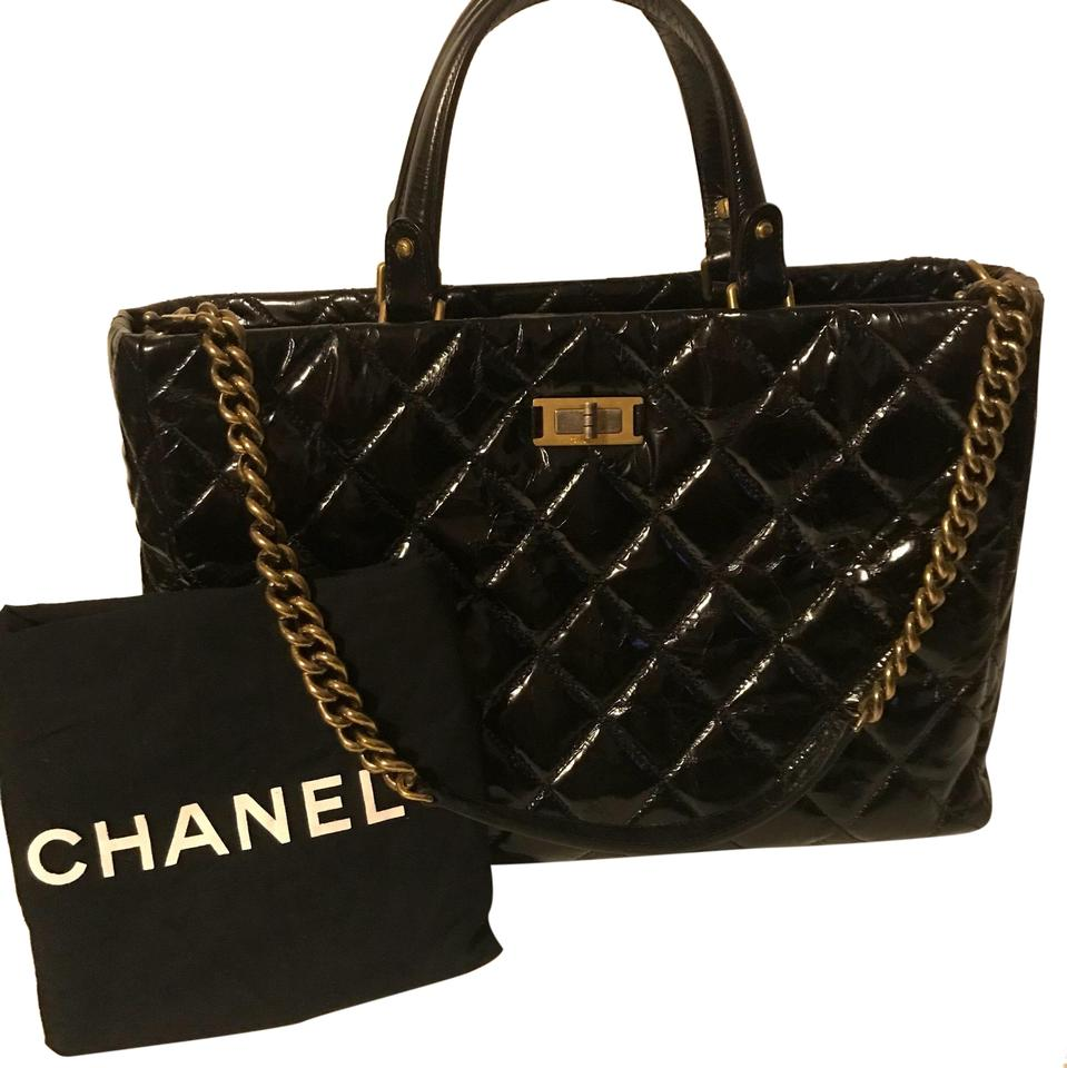 473711ce56 Chanel Mademoiselle 2.55 Reissue Crackled Glazed Calfskin Quilted Tote In  Black Crinkle Leather Shoulder Bag 63% off retail