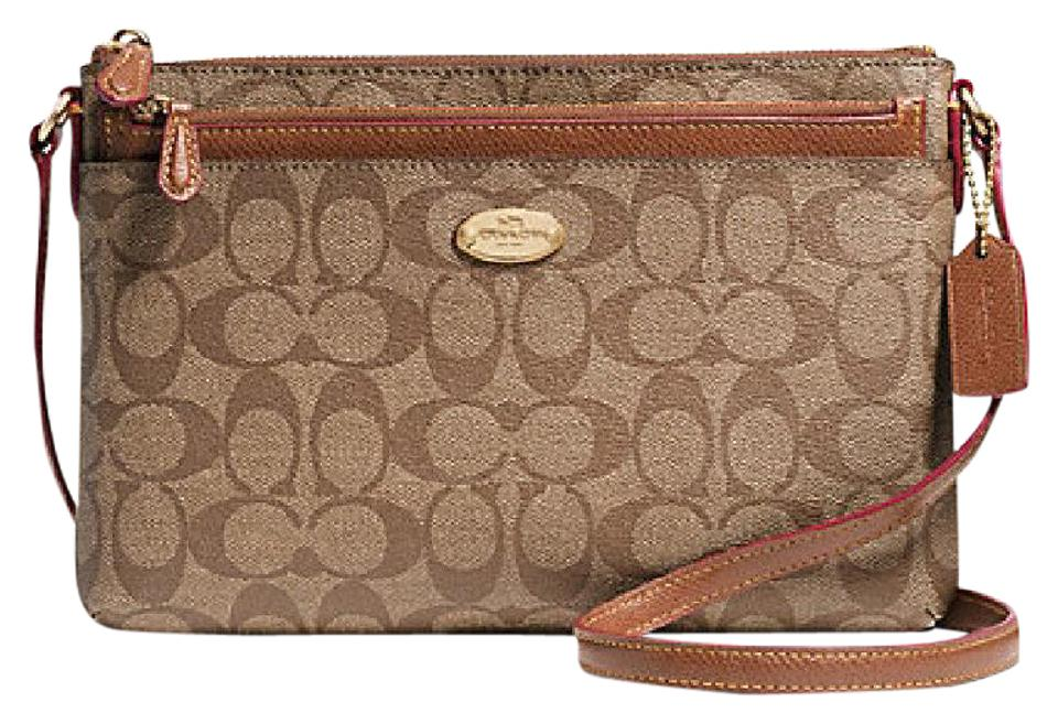 41147ba67916 Coach East West with Pop Up Pouch In Signature Saddle   Khaki Coated Canvas Cross  Body Bag