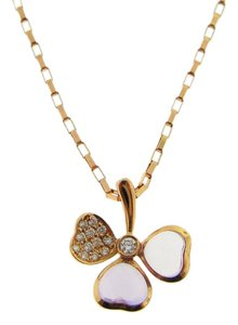 Other Diamond Amethyst Flower Necklace in 18k Rose Gold