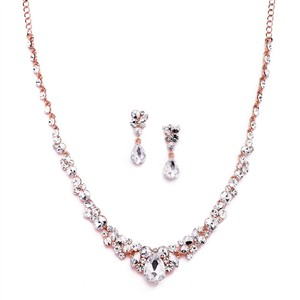 Mariell Regal Rose Gold Crystal Bridal Or Prom Necklace & Earrings Set 4192s-r