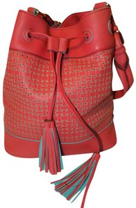 Big Buddha Bohemian Faux Leather Woven Tassels Bold Satchel in Pink & Turquoise
