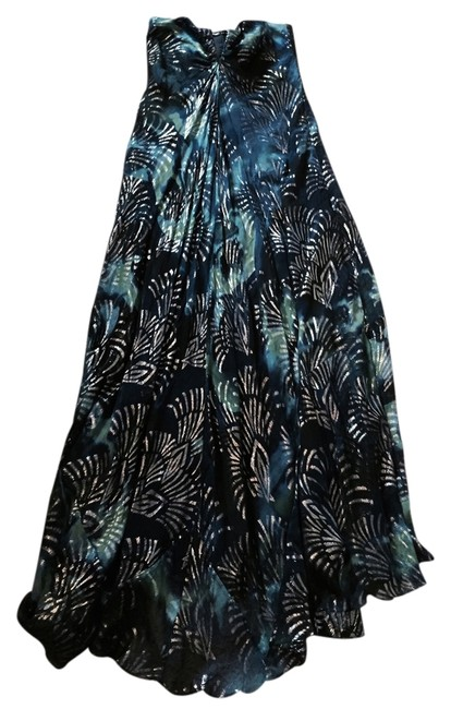 Item - Blue Multi Colored Gown Vacation Wedding Event Beach Long Cocktail Dress Size 10 (M)