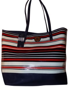 Tommy Hilfiger Faux Leather Bold Striped Bright Classic Tote in Red, White, & Blue