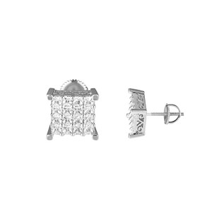 Other Square Shape Earrings Simulated Diamonds Princess Cut Screw On 10mm