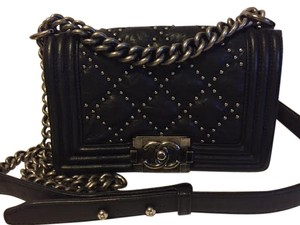 Chanel Le Boy Studded Quilted Leather Cross Body Bag