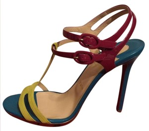 Christian Louboutin Colorblock Double Tutti Strappy Ankle Strap Blue, Pink, Yellow Sandals