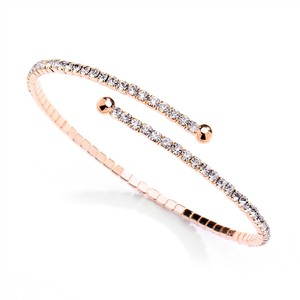 Mariell Rose Gold Delicate Single Row Rhinestone Coil 4322b-rg Bracelet