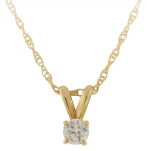 Other Round Cut Solitaire Necklace- 14k Yellow Gold